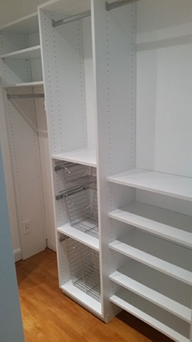 White Custom Closet With Baskets