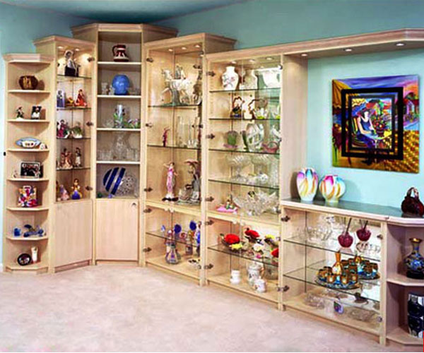 Custom made display unit with glass shelves