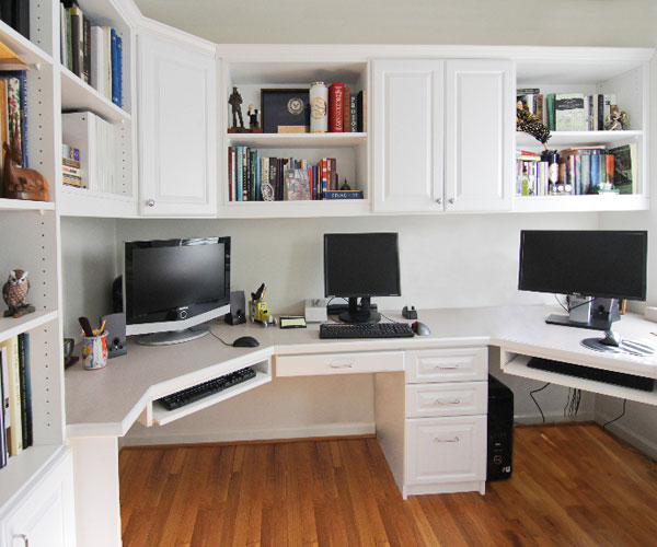 White Home Office system with file drawers and cubbies
