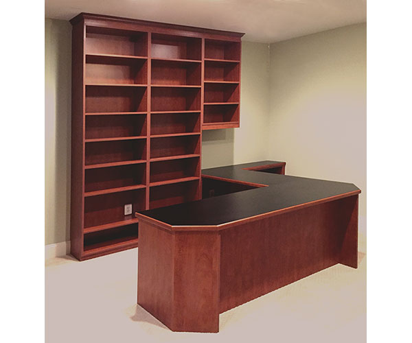 Office in Sunset and cherry wood edged counter