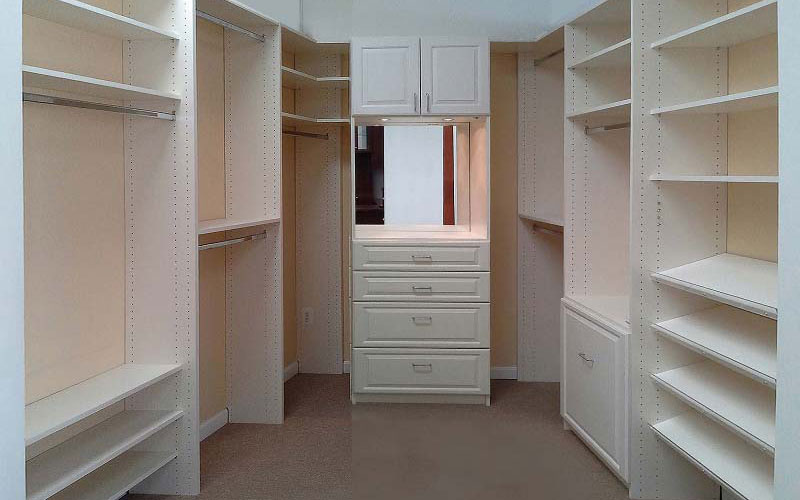 White Walk in Closet with Hanging units,Custom Doors and Drawer Fronts
