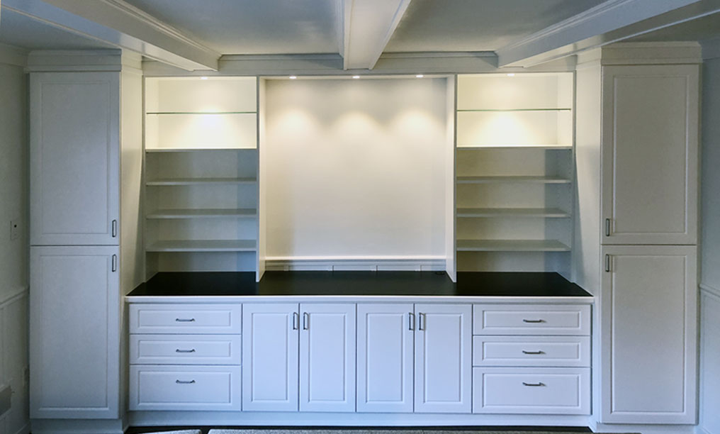 White Home Office with drawers, doors and tall units